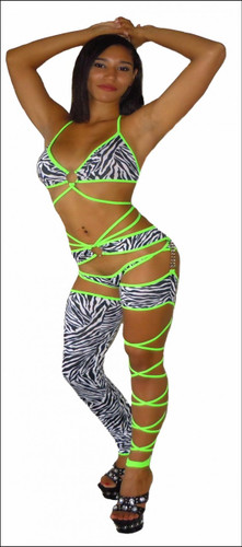 Blue Orchid Exoticwear Sexy Capture Cage Chap Set with Thong
