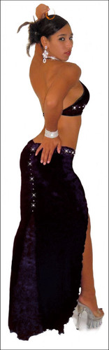 Blue Orchid Exoticwear Sexy Gown Fantasia Rhinestone 2 PC Gown with Thong