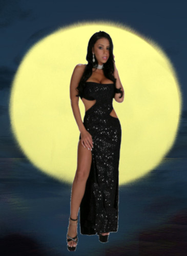 Blue Orchid Exoticwear Dangerous Curves Gown with Thong