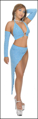 Blue Orchid Exoticwear Seductive Rhinestone Accent Salsa Set with Gloves and Thong
