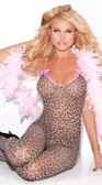 Elegant Moments Leopard Bodystocking with Satin Bows