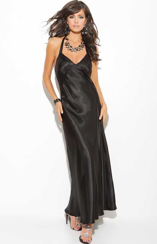 Elegant Moments Charmeuse Halter Neck Gown Queen Size - Black