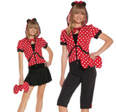 Elegant Moments Miss Mouse 5 pc costume includes hoodie with mouse ears, necklace, and bow purse, capri.