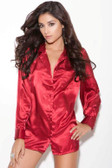 Elegant Moments Charmeuse Long Sleeve Queen Size Sleep Shirt - Red