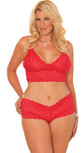 Elegant Moments Queen Size Booty Short and Camisole Set - Red