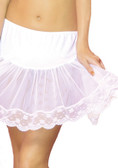 Elegant Moments Queen Size Lace Trim Petticoat - White