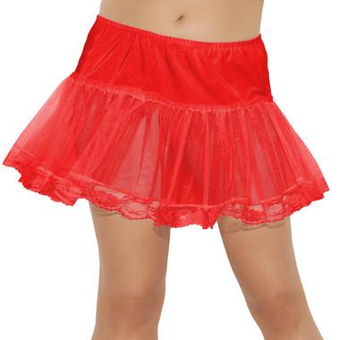 Elegant Moments Queen Size Lace Trim Petticoat - Red