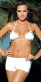 Elegant Moments Nylon Hot Short Queen Size - White