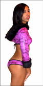 Blue Orchid Exoticwear Foxy Fur Accent Hoodie Set with Thong