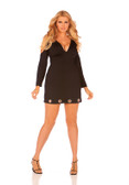 Elegant Moments Long Sleeve V Neck Dress with Open Shoulders Queen Size