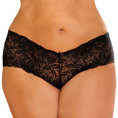 Elegant Moments Cheeky Short Queen Size - Black