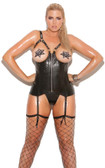 Elegant Moments Queen Size Open Cup Leather Corset
