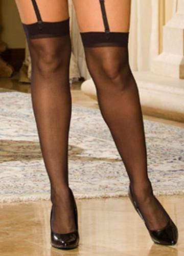 Elegant Moments Sheer Thigh Hi Queen Size - Black