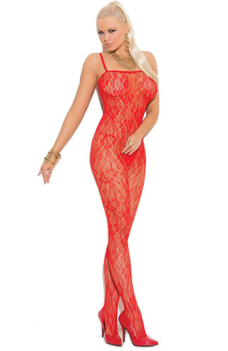 Elegant Moments Rose Lace Bodystocking With Open Crotch Queen Size - Red
