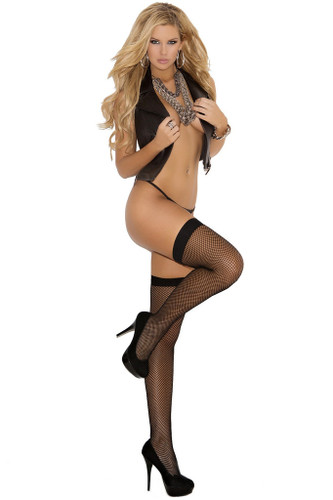 Elegant Moments Fishnet Thigh High with Back Seam Queen Size