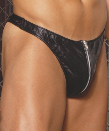 Elegant Moments Men's Leather Zip Up Thong Queen Size - Black