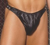 Elegant Moments Men's Leather Thong with Side Snaps Queen Size