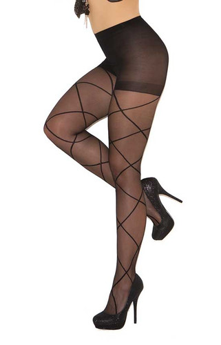 Elegant Moments Sheer Pantyhose with Criss Cross Detail