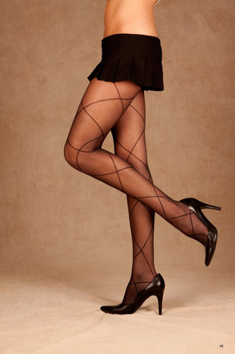 Elegant Moments Sheer Pantyhose with Criss Cross Detail Queen Size