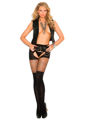 Elegant Moments Opaque Crotchless Pantyhose with Diamond Net Top - Queen Size
