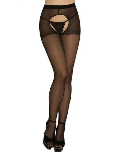 Elegant Moments Sheer Crotchless Pantyhose Queen Size - Black