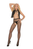 Elegant Moments Fishnet Suspender Pantyhose Queen Size
