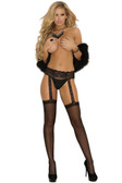 Elegant Moments Sheer Thigh High with Lace Garter Belt Queen Size