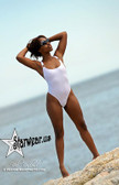 Starwear USA Bailey Sexy Retro Cut Race Back One Piece Suit - White