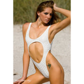 Starwear USA Catena Keyhole Front One Piece Swimsuit - 3D White Vinyl