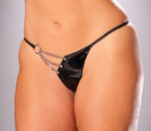 Elegant Moments Queen Size Vinyl G-String with Chain Detail