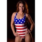 Starwear USA Impact Tank Style with High Cut Hips One Piece Suit - Stars and Stripes
