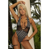 Starwear USA Ion Deep V Front Halter One Piece Swimsuit - Black White Polka Dots / Black Mesh