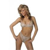 Starwear USA Kosmic Sporty Bra Top and Full Cut Bottom Bikini Swimsuit - Tan Bandanna