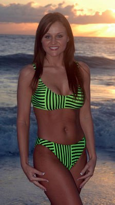 Starwear USA Kosmic Sporty Bra Top and Full Cut Bottom Bikini Swimsuit - Neon Green