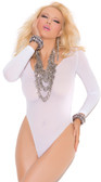 Elegant Moments Long Sleeve Opaque Teddy - White