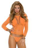Elegant Moments Fishnet Long Sleeve Cami with Matching G-String - Neon Orange