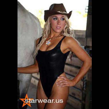 Starwear USA Oceanus Classic Cut Tank Style One Piece Swimsuit - Black Wet Look