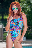 Starwear USA Oceanus Classic Cut Tank Style One Piece Swimsuit - Turquoise Peacock