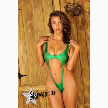 Starwear USA Selena Extreme Cut One Piece Swimsuit - Green Metallic Foil