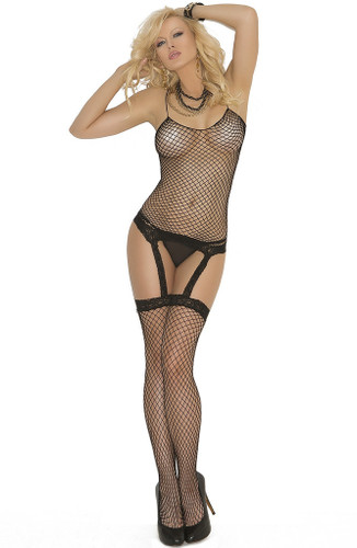 Elegant Moments 3Pc Set Fencenet Camisette G-String With Attached Stockings