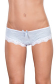 Oh La La Cheri Lace Overlay Crotchless Panty With Cage Back Opening - White