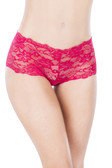 Oh La La Cheri Lace Crotchless Boyshort - Red