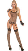 Elegant Moments 3Pc Set Leopard Camisette G-String with Stockings