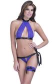 Oh La La Cheri Lace Bra With Peek-A-Boo Panty And Leg Garter - Purple/Black