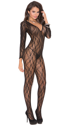 Elegant Moments Deep V Long Sleeve Bodystocking with Open Crotch