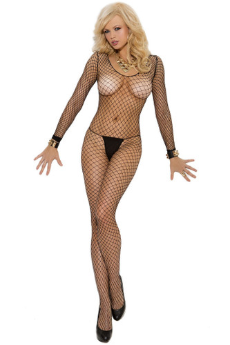 Elegant Moments Fence Net Long Sleeve Bodystocking with Open Crotch