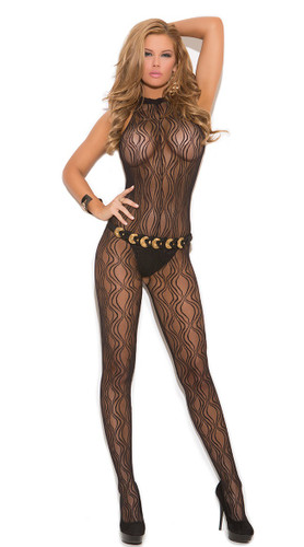 Elegant Moments Swirl Lace Halter Bodystocking with Open Crotch