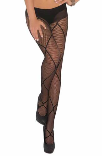 Elegant Moments Fishnet Pantyhose with Criss Cross Detail