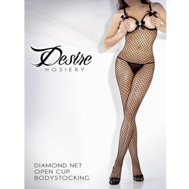 Fantasy Lingerie Queen Size Open Cup Bodystocking W/ Cameo Accents - Black