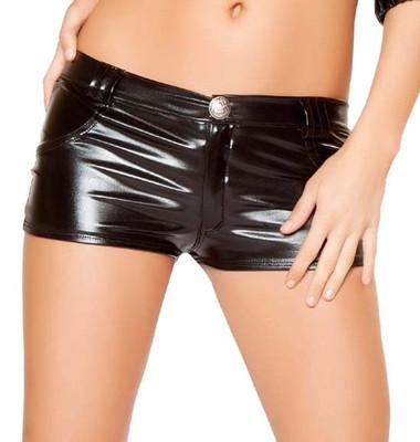 Roma Costume Metallic Shorts with Pocket Detail - Black